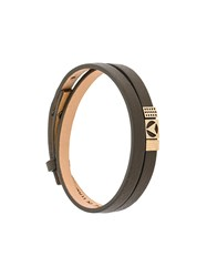 Northskull Insignia Bracelet Nappa Leather Gold Plated Brass Green
