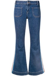 Sonia Rykiel Flared Side Stripe Jeans Blue