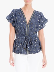 Max Studio Short Sleeve Tie Front Print Top Navy Mimosa