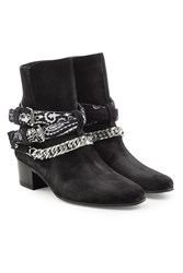 Amiri Bandana Buckle Suede Ankle Boots Black