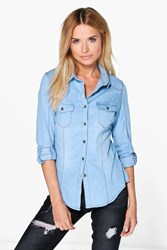 Boohoo Stretch Slim Fit Denim Shirt Mid Blue
