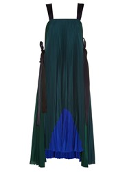 Fendi Tie Side Pleated Crepe De Chine Dress Green Multi