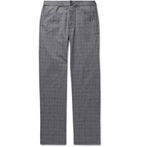 Oliver Spencer Prince Of Wales Checked Cotton Blend Seersucker Trousers Gray