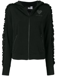 Love Moschino Ruched Sleeve Zipped Hoodie Black