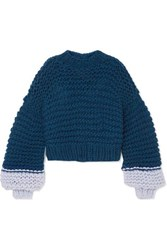 The Knitter Moon Face Cropped Two Tone Wool Sweater Navy