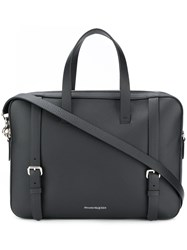 Alexander Mcqueen Pebbled Leather Briefcase Black