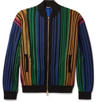 Balmain Striped Bomber Jacket Black