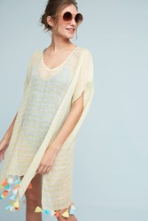 Anthropologie Striped Kaftan Cover Up Yellow