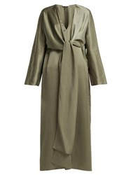 The Row Clementine Oversized V Neck Gown Dark Green
