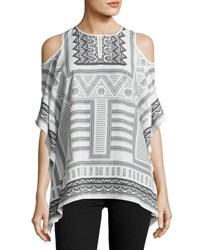 Neiman Marcus Scarf Print Cold Shoulder Top White Black