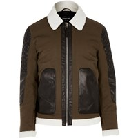 River Island Mens Green Leather Look Panel Jacket