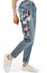 Topshop Women's Mom Embroidered Jeans