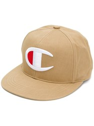 Champion Logo Embroidered Cap Nude And Neutrals