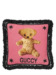 Gucci Teddy Bear Cross Stitch Pillow Pink Black