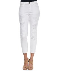 Elie Tahari Distressed Eyelet Cropped Jeans Optic White