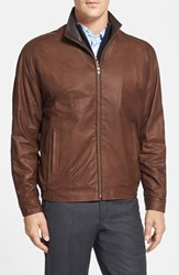 Men's Big And Tall Remy Leather 'Lite' Lambskin Leather Jacket Med Brown