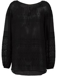 Saint Laurent Broderie Anglaise Gypsy Blouse Black