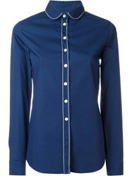Maison Kitsune Club Collar Shirt Blue