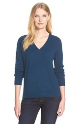 Women's Nordstrom Collection Double V Neck Cashmere Sweater Blue Insignia