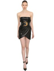 Versace Wrapped Leather Dress Black