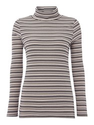 Pied A Terre Stripe Longsleeve Rollneck Top Black Brown