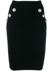 Balmain Ribbed Knit Fitted Skirt Black