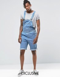 Liquor And Poker Short Overalls Stonewash Blue