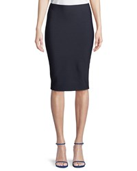 Bailey 44 Poly Sci Pull On Midi Skirt Navy