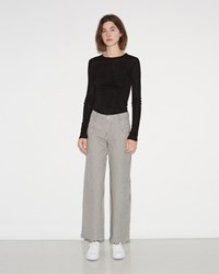 Alexander Wang Frayed Striped Cotton Pants Ecru