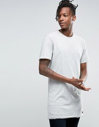 Only And Sons Longline Raw Edge T Shirt Grey