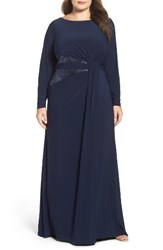 Adrianna Papell Plus Size Women's Sequin Inset Jersey Gown