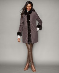 The Fur Vault Rabbit Fur Trim Reversible Coat Brown