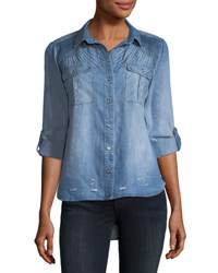 Neiman Marcus Distressed Chambray Button Down Shirt Blue