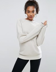 Asos Premium Sweatshirt In Boxy Oversized Fit With Longer Sleeves Stone