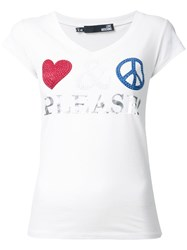 Love Moschino Embellished V Neck T Shirt White