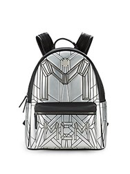 Mcm Logo Pattern Leather Backpack Silver