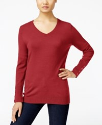 Jm Collection V Neck Button Cuff Sweater Only At Macy's New Red Amore