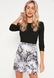 Missguided Grey Snake Print Split Hem Scuba Mini Skirt