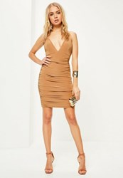 Missguided Camel Slinky Double Strap Ruched Bodycon Dress