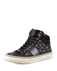 Jimmy Choo Star Studded Hi Top Sneaker Black Gunmetal