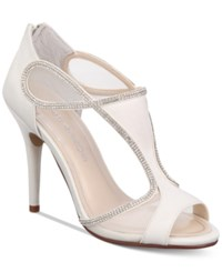 3b994a377b3 Caparros Jessica T Strap Embellished Evening Sandals Ivory Sateen