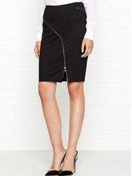 Karl Lagerfeld Punto Skirt With Curved Zip Black