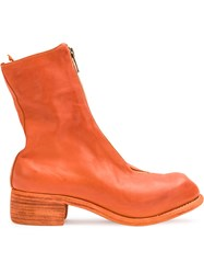 Guidi Front Zip Ankle Boots Women Horse Leather 38 Yellow Orange