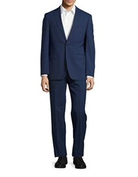 Calvin Klein Muted Plaid Wool Pants Suit Blue