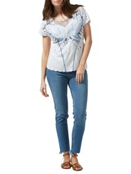Sugarhill Boutique Butterfly Embroidered Cutwork Top White Blue