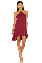 Milly Silk Cascade Halter Dress Burgundy