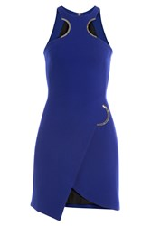 David Koma Wool Dress With Cut Out Detail Blue