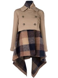 Semicouture Checked Coat Polyester Acrylic Virgin Wool Lyocell Nude Neutrals