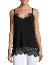 French Connection Lace Trimmed Tank Top Black