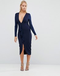 Hedonia Long Sleeve Pencil Dress With Ruffle Front Navy